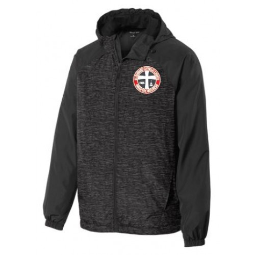 JST40  Sport-Tek® Heather Colorblock Raglan Hooded Wind Jacket